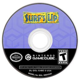 Artwork on the CD for Surf's Up on the Nintendo GameCube.