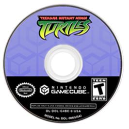 Artwork on the CD for Teenage Mutant Ninja Turtles on the Nintendo GameCube.