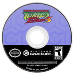 Artwork on the CD for Teenage Mutant Ninja Turtles 3: Mutant Nightmare on the Nintendo GameCube.