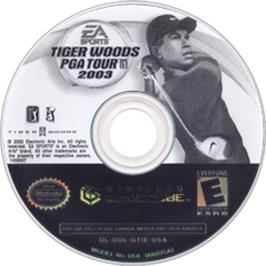 Artwork on the CD for Tiger Woods PGA Tour 2003 on the Nintendo GameCube.