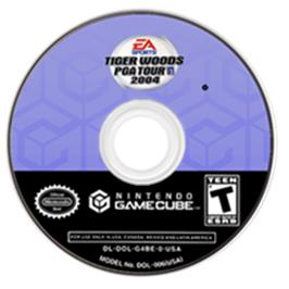 Artwork on the CD for Tiger Woods PGA Tour 2004 on the Nintendo GameCube.