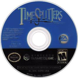 Artwork on the CD for TimeSplitters: Future Perfect on the Nintendo GameCube.