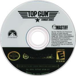 Artwork on the CD for Top Gun: Combat Zones on the Nintendo GameCube.