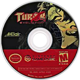 Artwork on the CD for Turok: Evolution on the Nintendo GameCube.