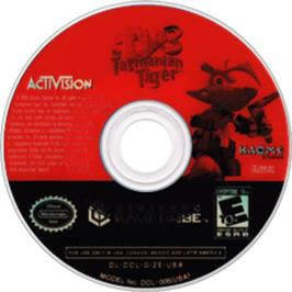 Artwork on the CD for Ty the Tasmanian Tiger 3: Night of the Quinkan on the Nintendo GameCube.