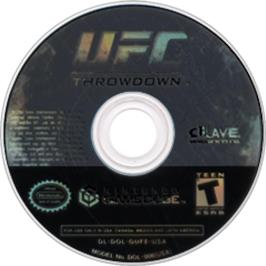 Artwork on the CD for UFC: Throwdown on the Nintendo GameCube.