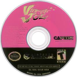 Artwork on the CD for Viewtiful Joe on the Nintendo GameCube.