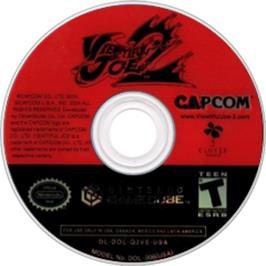 Artwork on the CD for Viewtiful Joe 2 on the Nintendo GameCube.
