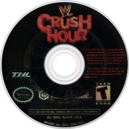 Artwork on the CD for WWE Crush Hour on the Nintendo GameCube.