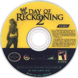 Artwork on the CD for WWE Day of Reckoning 2 on the Nintendo GameCube.