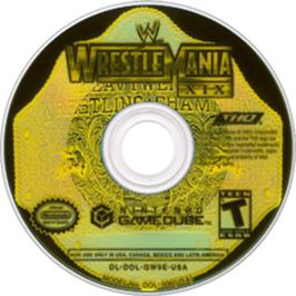 Artwork on the CD for WWE Wrestlemania XIX on the Nintendo GameCube.