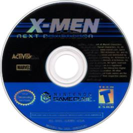 Artwork on the CD for X-Men: Next Dimension on the Nintendo GameCube.