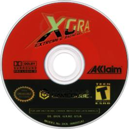 Artwork on the CD for XGRA: Extreme G Racing Association on the Nintendo GameCube.