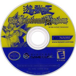 Artwork on the CD for Yu-Gi-Oh!: The Falsebound Kingdom on the Nintendo GameCube.