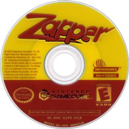 Artwork on the CD for Zapper: One Wicked Cricket on the Nintendo GameCube.