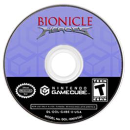 Artwork on the Disc for Bionicle Heroes on the Nintendo GameCube.