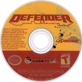 Artwork on the Disc for Defender on the Nintendo GameCube.