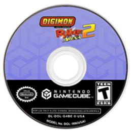 Artwork on the Disc for Digimon Rumble Arena 2 on the Nintendo GameCube.