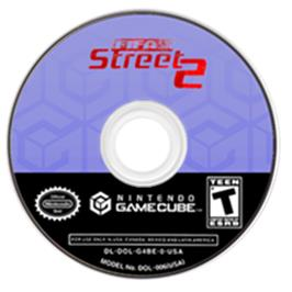 Artwork on the Disc for FIFA Street 2 on the Nintendo GameCube.