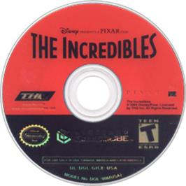 Artwork on the Disc for Incredibles on the Nintendo GameCube.