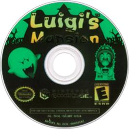 Artwork on the Disc for Luigi's Mansion on the Nintendo GameCube.