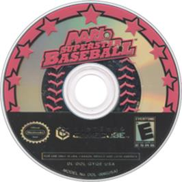 Artwork on the Disc for Mario Superstar Baseball on the Nintendo GameCube.