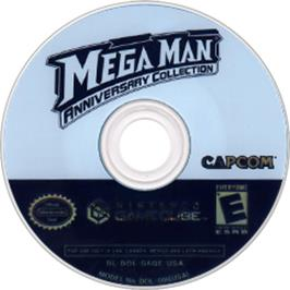 Artwork on the Disc for Mega Man Anniversary Collection on the Nintendo GameCube.