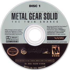 Artwork on the Disc for Metal Gear Solid: The Twin Snakes on the Nintendo GameCube.