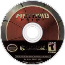 Artwork on the Disc for Metroid Prime on the Nintendo GameCube.