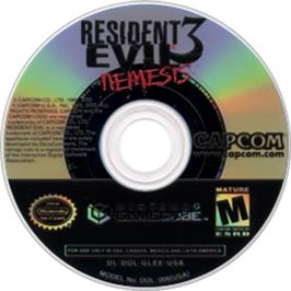 Artwork on the Disc for Resident Evil 3: Nemesis on the Nintendo GameCube.