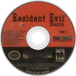 Artwork on the Disc for Resident Evil Zero on the Nintendo GameCube.