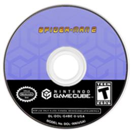 Artwork on the Disc for Spider-Man 2 on the Nintendo GameCube.