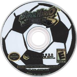 Artwork on the Disc for Super Mario Strikers on the Nintendo GameCube.
