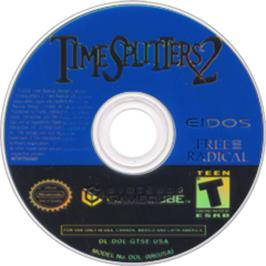 Artwork on the Disc for TimeSplitters 2 on the Nintendo GameCube.