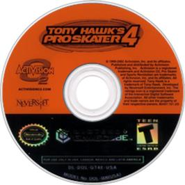 Artwork on the Disc for Tony Hawk's Pro Skater 4 on the Nintendo GameCube.