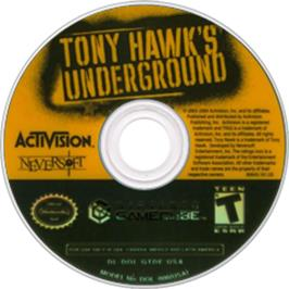 Artwork on the Disc for Tony Hawk's Underground on the Nintendo GameCube.