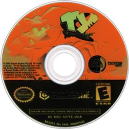 Artwork on the Disc for Ty the Tasmanian Tiger on the Nintendo GameCube.