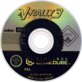 Artwork on the Disc for V-Rally 3 on the Nintendo GameCube.