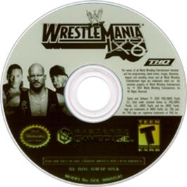 Artwork on the Disc for WWE WrestleMania X8 on the Nintendo GameCube.