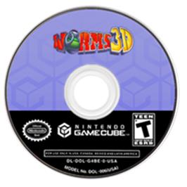 Artwork on the Disc for Worms 3D on the Nintendo GameCube.