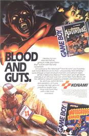 Advert for Castlevania: The Adventure on the Nintendo Game Boy.
