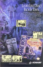 Advert for Castlevania II: Belmont's Revenge on the Nintendo Game Boy.