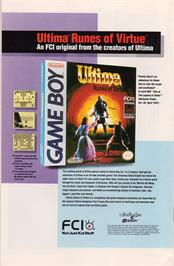 Advert for Ultima: Runes of Virtue on the Nintendo Game Boy.