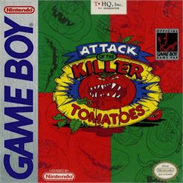Box cover for Attack of the Killer Tomatoes on the Nintendo Game Boy.