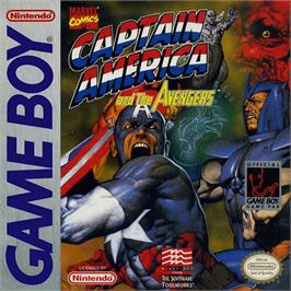 Box cover for Captain America and The Avengers on the Nintendo Game Boy.