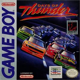 Box cover for Days of Thunder on the Nintendo Game Boy.