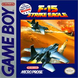 Box cover for F-15 Strike Eagle on the Nintendo Game Boy.