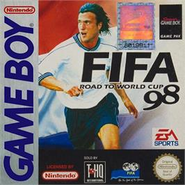 Box cover for FIFA 98: Road to World Cup on the Nintendo Game Boy.