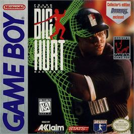 Box cover for Frank Thomas' Big Hurt Baseball on the Nintendo Game Boy.