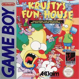Box cover for Krusty's Fun House on the Nintendo Game Boy.